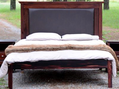 Oslo Bed with Leather Headboard